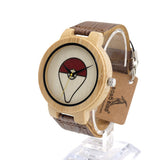 Bobobird E8 Mens Montopia Pokemon Colorful Faces Design Brand Luxury Wooden Bamboo Watches With Real Leather Bands in Gift Box - Animetee - 4