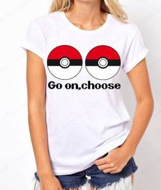 Pokemon Go Pokeball T Shirt White Short Sleeves Running T Shirts Women Summer Casual Scoop Neck Basic Shirt GO ON Choose Print - Animetee - 3