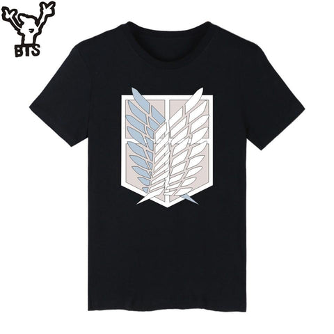Cool Attack on Titan BTS  Tee Shirt Men Japan Popular Anime Fashion T Shirt Men Short Sleeve Casual Funny Cartoon Top And Tee Tshirt AT_90_11
