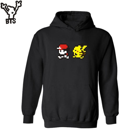 BTS PIKA in  Go Hooded Mens Hoodies and Sweatshirts Autumn Winter with Pocket Monster Hoodies Men Plus Size for BoysKawaii Pokemon go  AT_89_9
