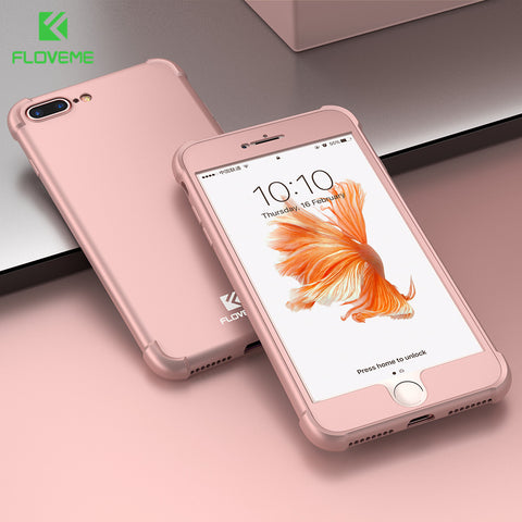 FLOVEME 2 In 1 360 Degree Full Body Hybrid Phone Cases For iPhone 8 7 6 6S  Plus Case All-inclusive Airbag Protective Back Cover