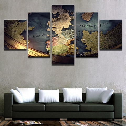 Winter Game of Thrones GOT Modular Home Decor Canvas Pictures HD Prints Posters 5 Pieces  Map Paintings For Living Room Wall Art Framework AT_77_7