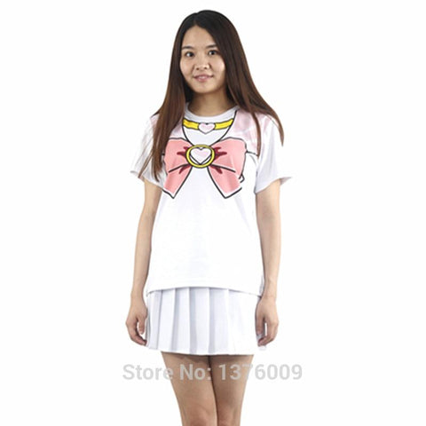 Kawaii Sailor Moon Sailormoon 2pcs/pack New T shirt Women Kpop Harajuku T Shirt  Crystal Usagi Girls Lolita Tops Short Sleeve Fake Bowknot Tee