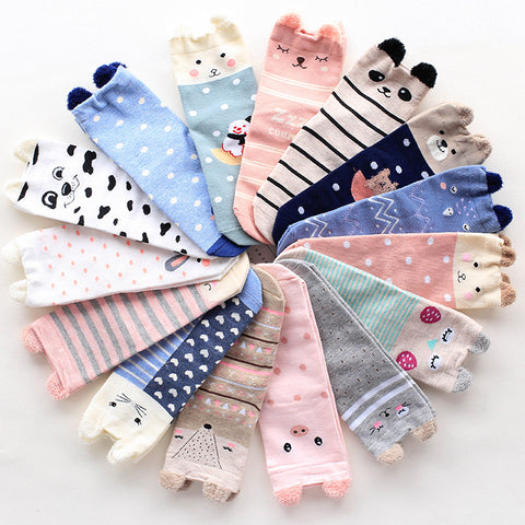 1 pair 2017new Japan cartoon socks women cute animals socks for girl 3D popsocket with ears rabbit pig fox cat pug meia cheap