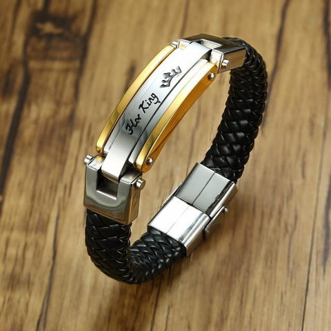 "Cool Her King - His Queen Stainless Steel Braided Leather Bracelet in Black Couple Jewelry For Him And Her Bangle Braslet 8.8""AT_93_12"