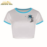 2016 Summer Blue Cute Crop Tops Fashion Print Cartoon Pokemon Go Pokeball Teen With Side Pocket Short Sleeve O-Neck Tee T Shirts - Animetee - 1