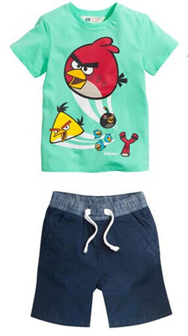 2016 New kid apparel Boys Summer Clothing Set Baby Boys Set Suit Cotton T-shirt+ Short Kids costumes Free Shipping - Animetee - 3
