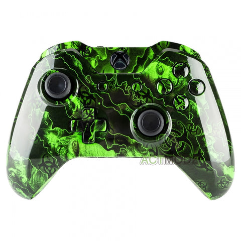 Full Housing Shell Button for Xbox One Controller W/3 5 mm Jack Green  Zombies
