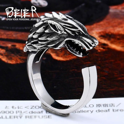 Winter Game of Thrones GOT Beier 316L Stainless Steel viking  s Ice Wolf House Stark  Winterfell  Animal opend Ring Fashion Jewelry LLBR8-477R AT_77_7