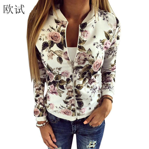Trendy 2018 Floral Print Bomber Jacket Women Slim Casual Business Jackets Zip Up Biker Coat Outwear Casaco Feminino Chaqueta Mujer BTS AT_94_13