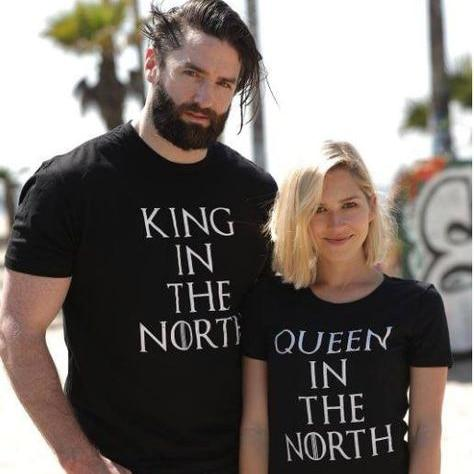 08b6db366e12 Cool Game of Thrones King Queen in the North T Shirts Valentine Men Women  Couple Clothes