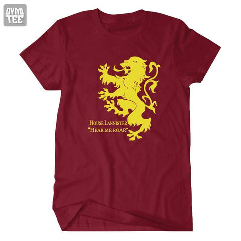 Winter Game of Thrones GOT House Lannister Hear Me Roar Song  ice and fire   short sleeve tee t shirt accesories costume jersey AT_77_7