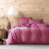 Cool Soft Pom Fringe Bedding Set Solid Color Duvet Cover Set Bed Cover and Pillow Sham with Tassels Fluffies Fringe Double Queen KingAT_93_12