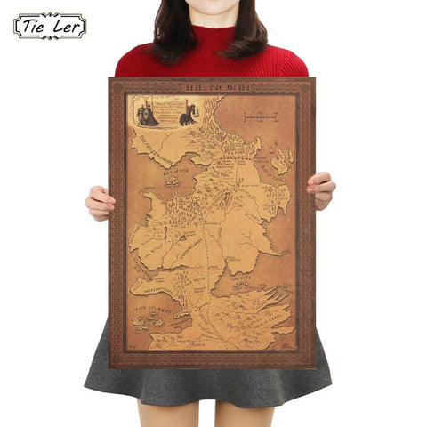 Winter Game of Thrones GOT TIE LER  Map Kraft Paper Poster Interior Bar Cafe Vintage Decorative Painting Wall Sticker 42X30cm AT_77_7