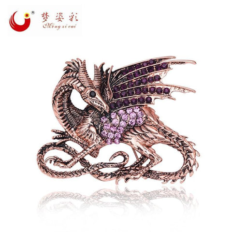 Winter Game of Thrones GOT 2017 New Retro  Purple Dragon Brooch Antique Rose Gold Rhinestone Broach Mujer Vintage Large Broches Jewelry Gift AT_77_7
