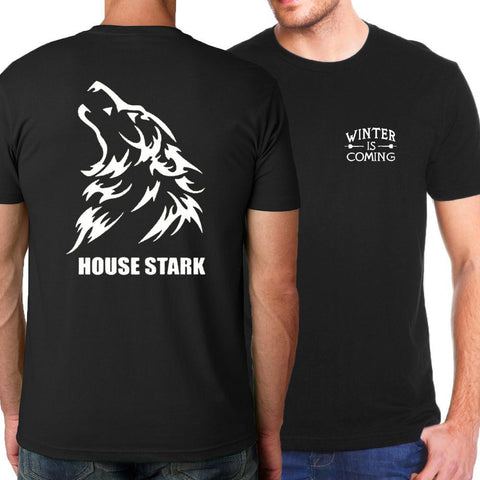 Winter Game of Thrones GOT 2018 Summer New Arrival  Winter Is Coming Men T-Shirts House Stark Fire & Blood T Shirt Men 100% Cotton Tops Tees AT_77_7