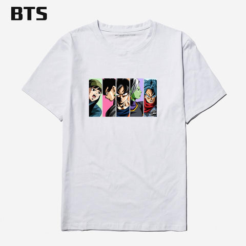 Dragon ball Dragonball capsule BTS  Z T Shirt Men Cotton Short Sleeve Kpop Plus Size Funny T-shirt Cartoon Anime Summer White Tee Shirt Men AT_85_9