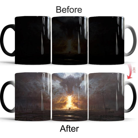 Winter Game of Thrones GOT  mugs Dragon mug heat changing color Heat reveal mugs magic Cfee Cup AT_77_7