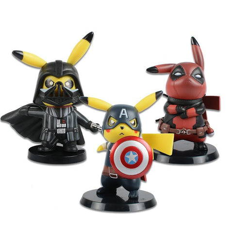 Deadpool Dead pool Taco  Captain America Darth Vader Pikachu Cosplay PVC Figure Collectible Model Toy Small Size 8.5-11cm 3 Styles AT_70_6