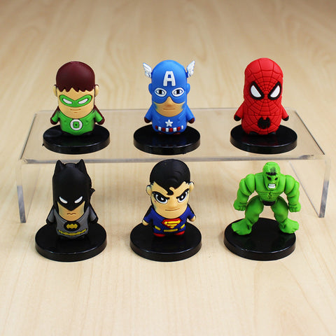 6Pcs/Set The Avengers Figures Toys Captain America Super man Batman Spider man Hulk PVC Figure Toy Dolls With Base Free Shipping - Animetee