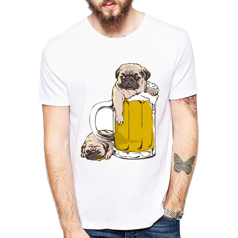 Pugs Beer&Burger design men t-shirt dogs cartoon printed funny tops short sleeve casual hipster cool tee shirts for men