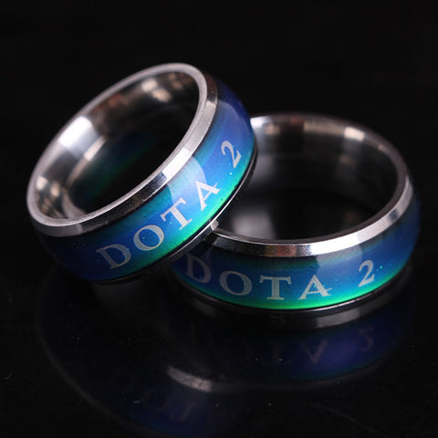 2015 NEW Fashion Dota 2 Titanium Steel Rings Change Color Temperature Logo Dota2 Rings Men / Women Jewelry free shipping - Animetee