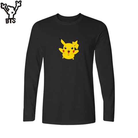 BTS Game  Go Black Famous Brand Printed T Shirt Men Long Sleeve T-shirts with Summer TShirt Brand in Pocket Monster TeesKawaii Pokemon go  AT_89_9