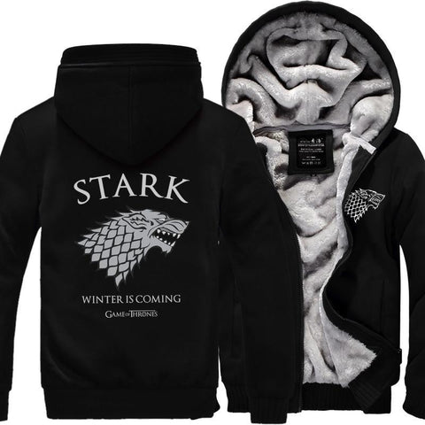 Winter Game of Thrones GOT  Men Sweatshirts House Stark hoodies 2018 hot winter warm fleece thicken Winter Is Coming print men hoodie Zip Up AT_77_7