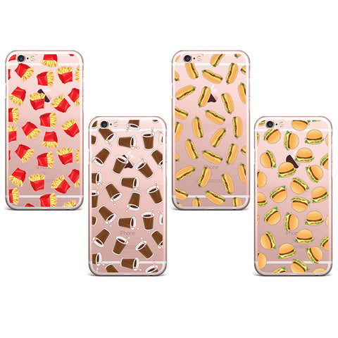 Hot Dog Burger Fries Drinks Soft Patterned Transparent TPU Phone Case For iphone 4 4s 5 5s 5c 5se 6 6s 6plus 6s plus flov - Animetee - 1