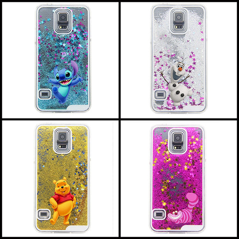 2016 Fashion Snowman Lovely Cartoon Liquid Quicksand Sparkling Stars Cover Case For Samsung Galaxy S5 i9600 - Animetee - 1
