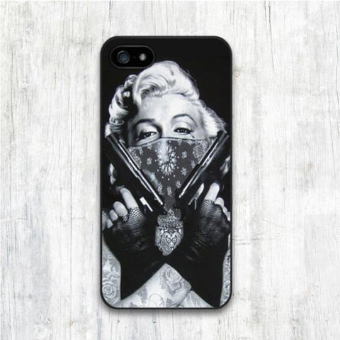 Marilyn Monroe Double Guns for iphone 4 4s 5 5s 5C 6 6s 6plus 6s plus Hard Cover CASE Celebs - Animetee - 1