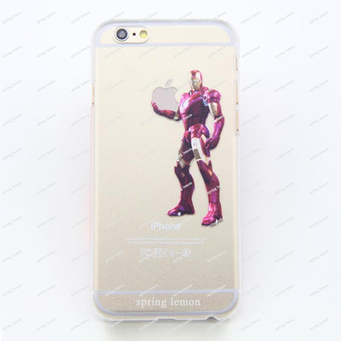 2016 New Popular Handheld Flags Iron Man Frosted Transparent Case Cover For iPhone 4/4s/5/5s/5c/6/6s/6plus/6s/7 plus - Animetee - 1