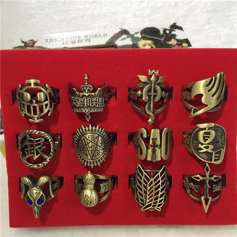 Naruto Sasauke ninja Fairy tail  Final fantasy Kingdom Hearts WOW Legend of Zelda Harry potter ONE PIECE Fashion Anime Ring Pierced Set model AT_81_8