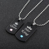 Cool Her King & His Queen Couple Necklaces lovers pendant fashion crystal jewelry for women and men giftsAT_93_12