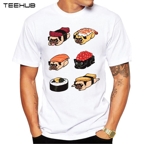 2018 Men T Shirts Fashion Sushi Pug Design Short Sleeve Casual Tops Hipster Pugs T-Shirt Cool Tee