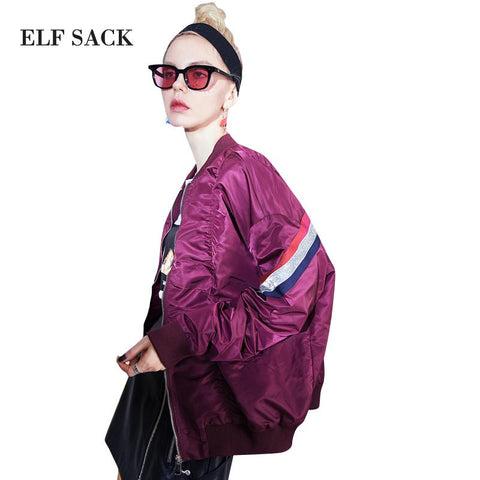 Trendy ELF SACK Women Striped Batwing Coats Womens Color Contrast Casual Baseball Jackets Female Loose Korean Zipper Kpop Coats AT_94_13