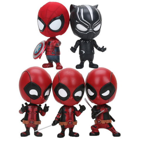 "Deadpool Dead pool Taco 4""10cm Anime  katana Sword fighting gesturing Bobble Head Black Panther spider man PVC Action Figure Model Toy AT_70_6"