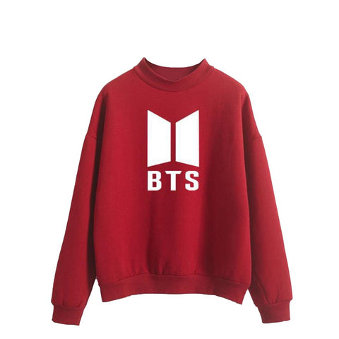 KPOP BTS Bangtan Boys Army  Letter Pattern Hoodies Sweatshirts Velvet Crew Collar Women Long Sleeve Streetwear Harajuku Ladies Casual Pullovers 2017 New AT_89_10