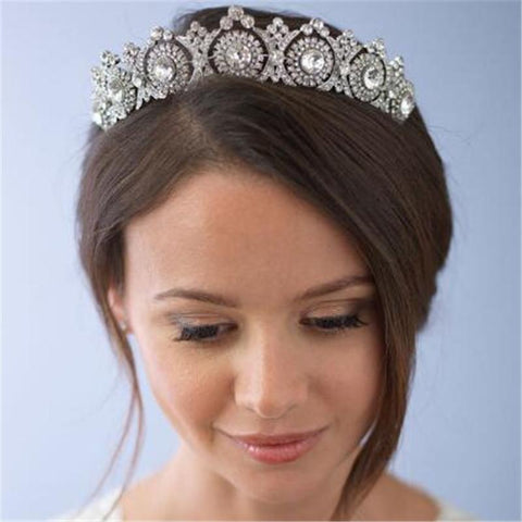 Cool Mamojko European Designs Royal King Queen Crown Rhinestone Tiara Head Jewelry Wedding Bride Tiaras Crowns PageantAT_93_12