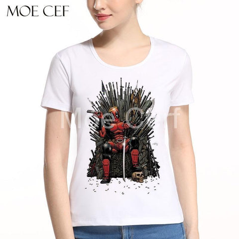 Winter Game of Thrones GOT Newest Cool Deadpool on the Iron  T-Shirt  Movies T Shirt Women Summer Short Sleeve Funny Tops Tee L9-N-13 AT_77_7