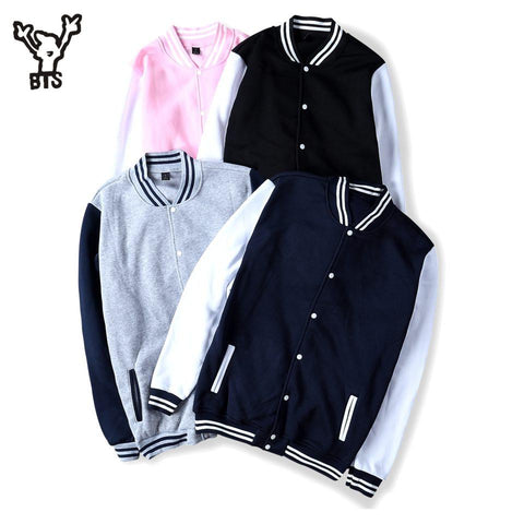 Trendy BTS 2017 Winter Baseball Jacket Men Sweatshirt College Sportswear Fleece Jackets Casual Slim Fit Jacket Mens solid veste homme AT_94_13