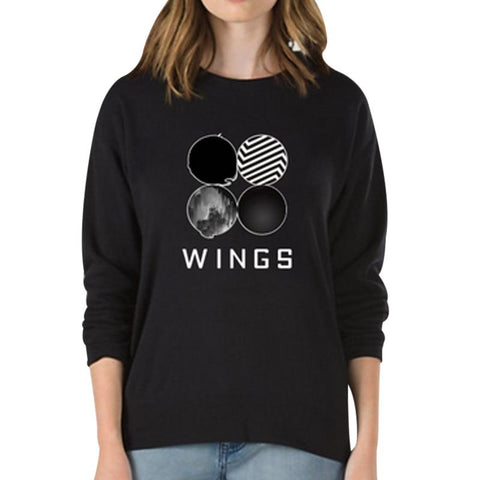 KPOP BTS Bangtan Boys Army Wing  Sweatshirt Korean Style Women Clothing Autumn Winter Hoodies Sweatshirts Casual Hip Hop Casual Long Sleeve Pullovers AT_89_10