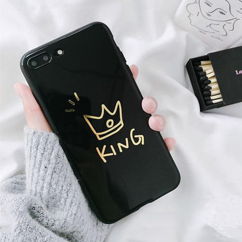 Trendy LACK Glossy Crown Phone Case For iphone X Case For iphone 7 Plus 6 6S 8 Plus Cute Letter KING QUEEN Soft TPU Couples Back Cover AT_94_13