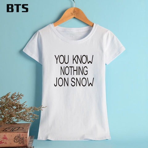 Winter Game of Thrones GOT BTS   T-shirt Women Black YOU KNOW NOTHING JON SNOW St Cotton Summer Women Brand Tees Tops Short Sleeve PINK AT_77_7