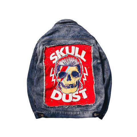Trendy 2018 United States Street Casual Men Outwear Rock Skull Denim jacket Vintage Hole Patch Designs Leisure Cowboy Coat Outerwear AT_94_13