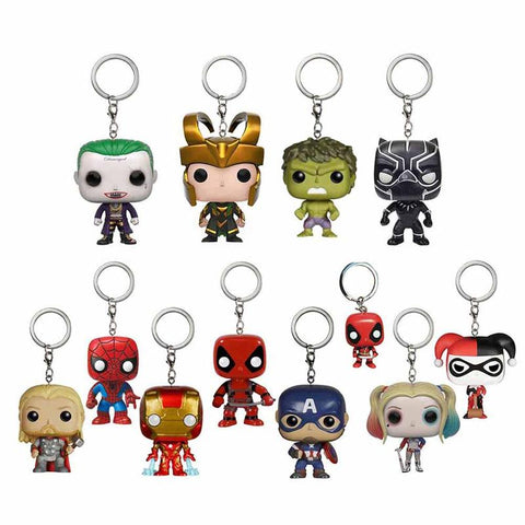 Batman Dark Knight gift Christmas Marvel Harley Quinn Joker Deadpool Batman Ironman Thor Hulk Rocky Spiderman Black Panther Action Figure Comics Gift Toy Keychain AT_71_6