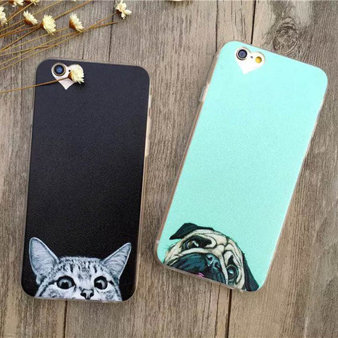 Super kawaii cat pugs dog face peeking Apple iPhone 6 Case Fashion Luxury Ultra Thin Funny Cat Dog Back Covers For iphone6 6S 4.7inch - Animetee - 1