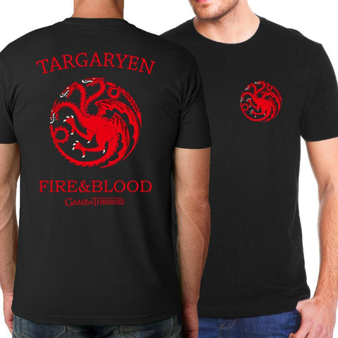 Winter Game of Thrones GOT Targaryen Fire & Blood Men T shirt 2018 Summer New Style   T-Shirts For Men Casual Slim Fit Fashion Men Tops Tees AT_77_7