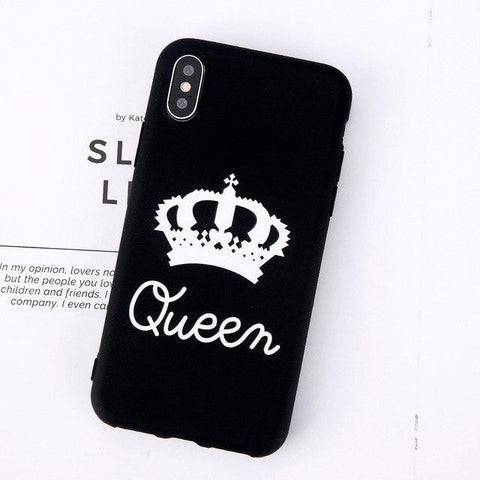 Trendy Balleen.E Case For iPhone X 8 7 6 6s Plus Luxury Letter KING QUEEN Colorful Soft TPU Couples Phone Case Back Cover For iPhone 8 AT_94_13