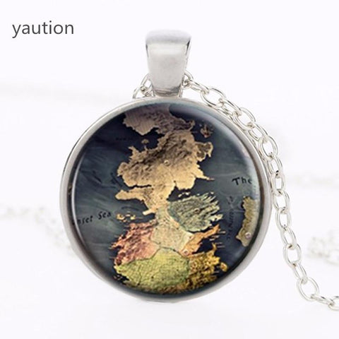 Winter Game of Thrones GOT The  Map Jewelry Westeros Map Pendant Movie  Necklace A Song  Ice and Fire Jewelry Vintage AT_77_7